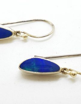 Sterling Silver Opal Blue Long Drop Earrings