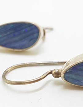 Sterling Silver Opal Blue Large Drop Earrings