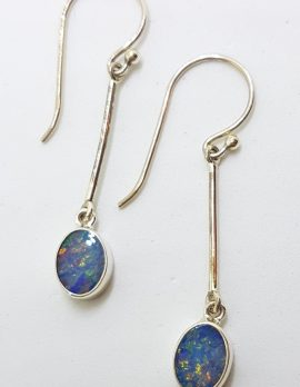 Sterling Silver Opal Blue Long Oval Drop Earrings