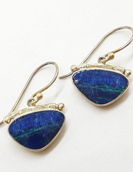 Sterling Silver Opal Blue Triangular Large Drop Earrings