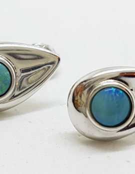 Sterling Silver Opal Teardrop Stud Earrings