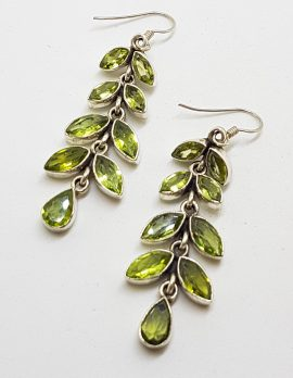 Sterling Silver Long Peridot Leaf Earrings
