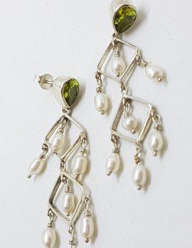 Sterling Silver Peridot and Pearl Long Drop Earrings