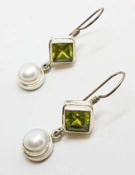 Sterling Silver Square Peridot and Pearl Long Drop Earrings