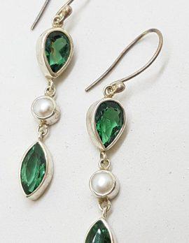 Sterling Silver Green Quartz and Pearl Long Drop Earrings