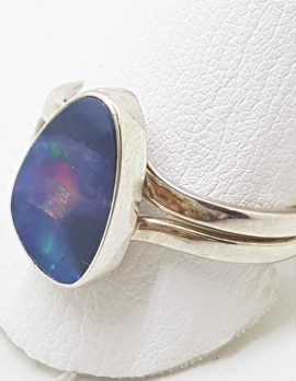 Sterling Silver Opal Expandable Band Ring