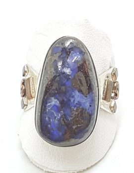 Sterling Silver with Copper Design on Side Large Boulder Opal Ring