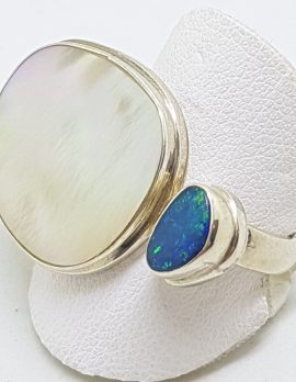 Sterling Silver Opal and Mother of Pearl Large Ring