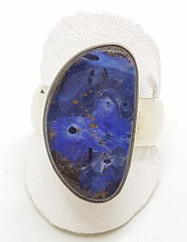 Sterling Silver Large Boulder Opal Ring