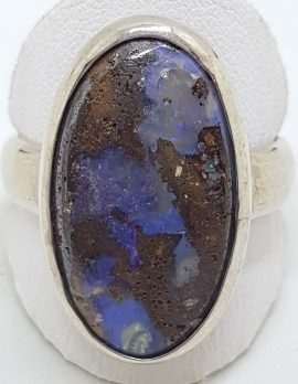 Sterling Silver Large Oval Boulder Opal Ring