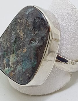 Sterling Silver Large Free form Boulder Opal Ring