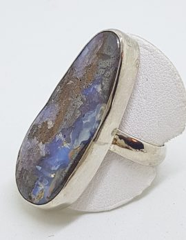 Sterling Silver Large/Long Freeform Boulder Opal Ring