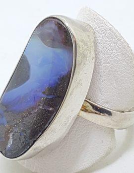 Sterling Silver Large/Long Boulder Opal Ring