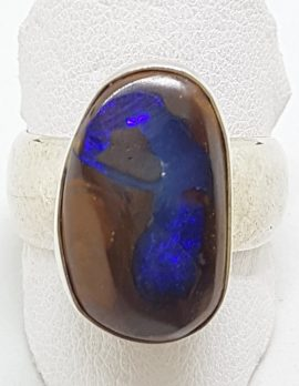 Sterling Silver Large Boulder Opal Wide Band Ring