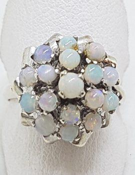 Sterling Silver Opal Cluster Ring - Vintage