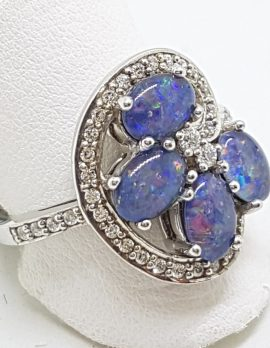 Sterling Silver Opal Triplet and Cubic Zirconia Ornate Cluster Ring