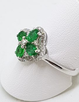 9ct White Gold Natural Emerald and Diamond Cluster Ring