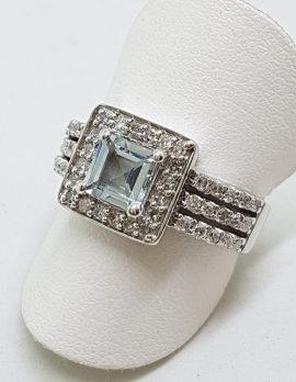 9ct White Gold Square Aquamarine and Diamond Ring