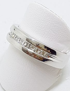 9ct White Gold Wide Channel Set Diamond Wedding Band Ring
