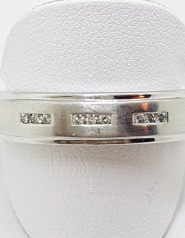 9ct White Gold Wide Diamond Wedding Band Ring / Gents Ring