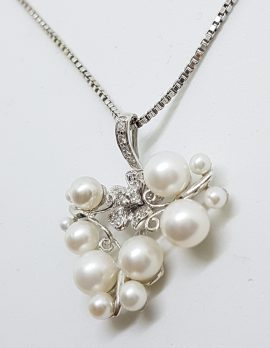 9ct White Gold Pearl & Diamond Large Cluster Ornate Floral & Butterfly Pendant on Gold Chain