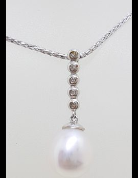 9ct White Gold Pearl & Diamond Long Drop Pendant on Gold Chain