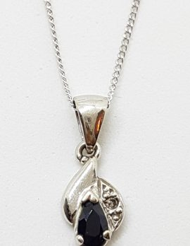 9ct White Gold Natural Sapphire & Diamond Pendant on Gold Chain