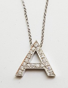 9ct White Gold Diamond Initial A Pendant on Gold Chain