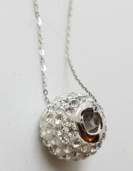 9ct White Gold Crystals Ball/Bead Pendant on Gold Chain