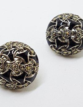 Sterling Silver Marcasite & Black Enamel Large Round Stud Earrings