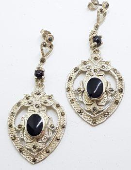 Sterling Silver Marcasite & Onyx Large Ornate Drop Earrings
