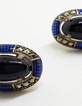 Sterling Silver Marcasite, Onyx & Blue Enamel Large Oval Stud Earrings