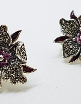 Sterling Silver Marcasite, Tourmaline and Enamel Large Flower Stud Earrings