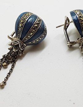 Sterling Silver Marcasite & Blue Enamel Long Drop Earrings