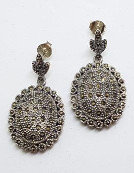 Sterling Silver Marcasite Long Oval Drop Earrings