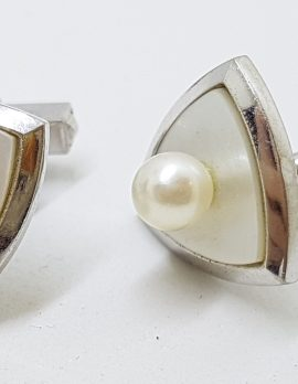 Sterling Silver Mother of Pearl and Pearl Triangular Cufflinks