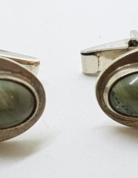 Sterling Silver Oval Jade Cufflinks