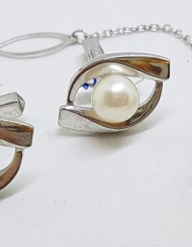 Sterling Silver Pearl Cufflinks & Stud Set