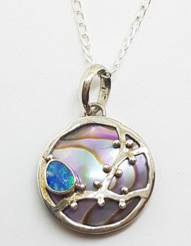 Sterling Silver Blue Opal & Paua Shell Round Pendant on Silver Chain