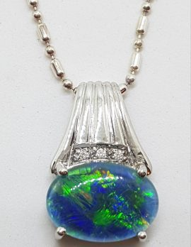 Sterling Silver Blue Opal & Cubic Zirconia Pendant on Silver Chain