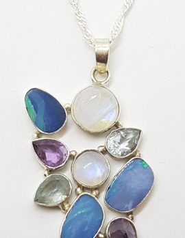 Sterling Silver Blue Opal, Amethyst, Moonstone, Topaz & Green Amethyst / Prasiolite Large Cluster Pendant on Silver Chain