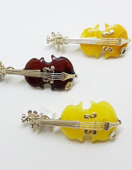 Sterling Silver Brown and Butter Amber Carved Violin Brooches/Pendants - Sold Separately
