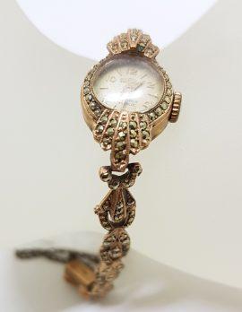 9ct Rose Gold Marcasite Ladies Watch