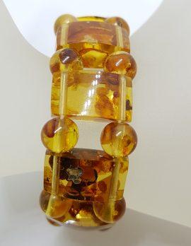 Vintage Natural Amber Wide Bracelet