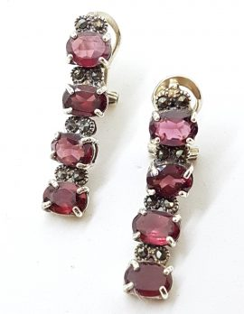 Sterling Silver Marcasite & Garnet Long Drop Earrings