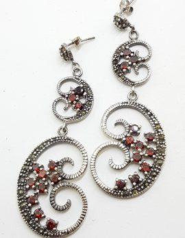 Sterling Silver Marcasite & Garnet Very Long Ornate Drop Earrings