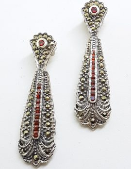 Sterling Silver Marcasite & Red Very Long Art Deco Style Drop Earrings