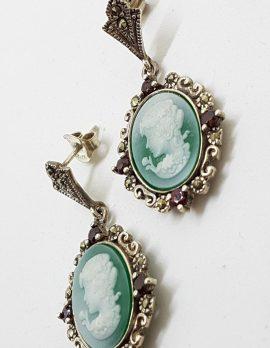 Sterling Silver Marcasite, Green Agate & Garnet Cameo Drop Earrings