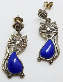 Sterling Silver Marcasite, & Blue Cat Drop Earrings