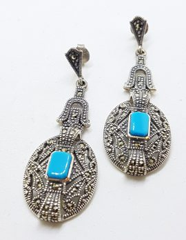 Sterling Silver Marcasite Long Drop Earrings with Reconstituted Turquoise